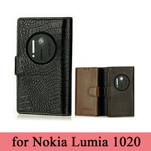 Imported Cowhide Genuine Leather Case for Nokia Lumia 1020 Mobile Phone Skin Wallet Case Design Stand Folio 1020 Cover Bag(China)