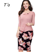 T'O New Arrival Spring Fall Half/Long Sleeve Peplum Plus Size 5XL Patchwork Casual Office Work Business Party Pencil Dress 267