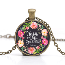 Buy Bible Verses Necklace Vintage Bronze Chain Glass Cabochon Pendant Women Christian Quote Jewelry Handmade Gift Love for $1.78 in AliExpress store