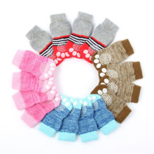 4pcs/set Cotton Dog Meias Cute Panda Bear Dog Pet Non-Slip Bottom Socks Shoe Puppy Cat Warm Sock S-XL