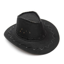 Free Shipping 1pc Fashion Cowboy Hat Suede Look Wild West Fancy Dress Mens Ladies Unisex Hats(China)