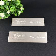 1pc custom magnet staff name tag name badge holder laser logo badge magnetic with metal stainless steel plate 70X20mm(China)