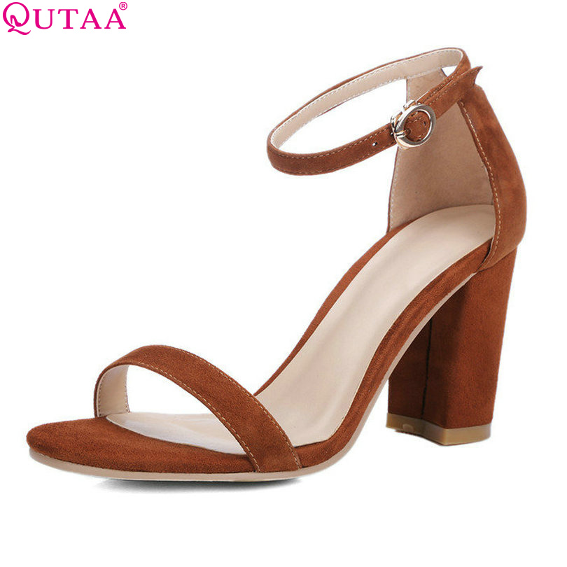 QUTAA 2017 Brown Women Sandal Square High Heel Platform Women Shoes Ankle Strap Genuine Leather Ladies Wedding Shoes Size 34-39<br><br>Aliexpress