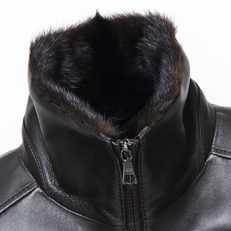 Gours Winter Mens Genuine Leather Jackets Brand Clothing Black Sheepskin Mink Jacket and Coat with Turn-down Collar 2017 New 4XL