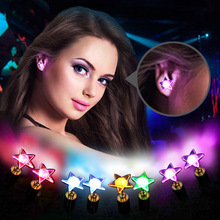 1 Pair LED Earring Light Up Bright Stud Earrings Star Glowing Ear Stud For DJ Dance Party Bar Girl(China)
