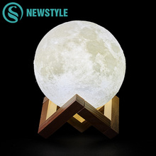 Creative 3D Print Moon Lamp Rechargeable 2 Colors Change Touch Switch Bedroom LED Night Light for Home Decoration Children Gift(China)