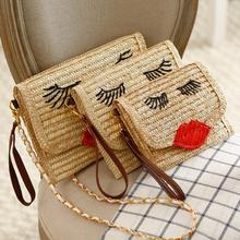 2016 Knitted Straw bag bales handbag ladies handmade woven straw message bag shoulder handbag woman beach bag Rattan Bag