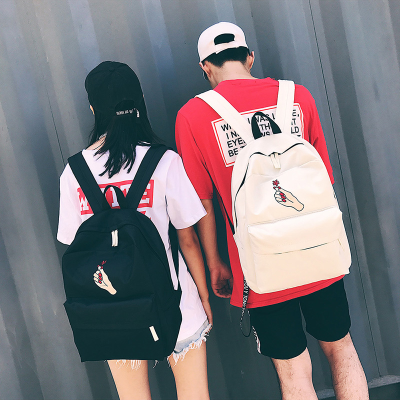 Men Canvas Backpack Cute Fashion Women Rose Embroidery Backpacks for Teenagers Women's Travel Bags Mochilas Rucksack School Bags (69)