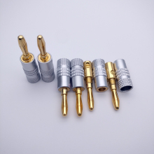 10pcs/lot Gold flash Speaker Banana Plugs pure copper banana Audio Jack Connector(China)