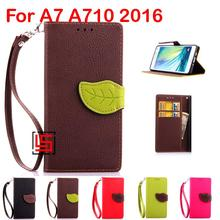 Leaf Clasp PU Leather Flip Wallet Stand Phone Case fundas Cover Card Holders For Samsung Galaxy A7 A710 2016 A 7 A710F Brown