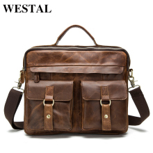 WESTAL Genuine Leather Men Bag male Casual Tote Shoulder Crossbody Bags messenger mens business leather bag Laptop Briefcases