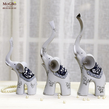 Home decoration accessories modern lucky elephants of three Resin Office Wedding decoration birthday gift Home decoration