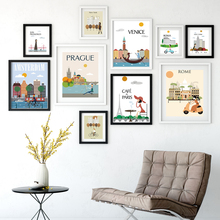 Fashion World Big City Morning Cartoon Poster Picture Art Canvas Modern Home Living Room Decoration Painting No Frame OT010
