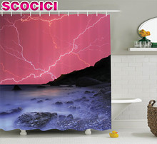 Lake House Decor Shower Curtain Set Thunderstorm Bolts with Vivid Colorful Sky Like Solar Lights Phenomenal Nature Picture Bathr