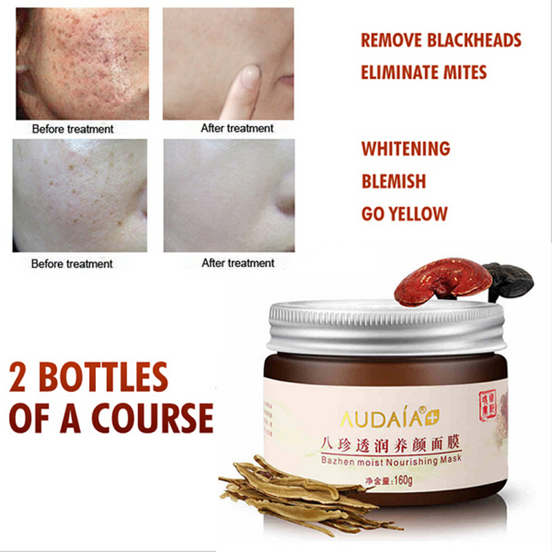 Precious Chinese Herbal Formula Whitening Cream Facial Mask Skin Care Acne Scars Remove Face Mask Blackhead Mite Treatment 160g<br>