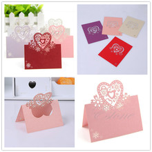 wholesale 12pcs Love Heart Laser Cut Romantic Wedding Party Invitation Table Name PlaceCards  Wedding/Business/Party/Birthday-B