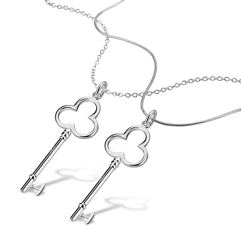 Fashion heart-shaped key necklace.Solid 925 silver women necklace.Simple key pendant.Wholesale sterling silver jewelry.girl gift(China (Mainland))