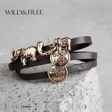Women 3 Colors Multilayer Elephant Leather Bracelets Vintage Zinc Alloy Good Luck Long Charm Bracelets Jewelry(China)