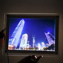 Wholesale price 20pcs ultra thin acrylic pictures framed wall mounted a4 crystal photo lightbox with led lighting