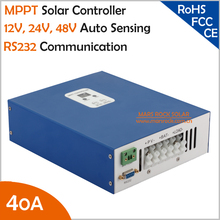 Ecnomical 40A MPPT solar charge controller 12V/24V/48V automatic recognition with RS232 communication port, Max. PV Input 100VDC