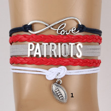 (10PCS/LOT) European and American style Infinity Love NFL New England Patriots Football Team Bracelet Customize Sports wristband