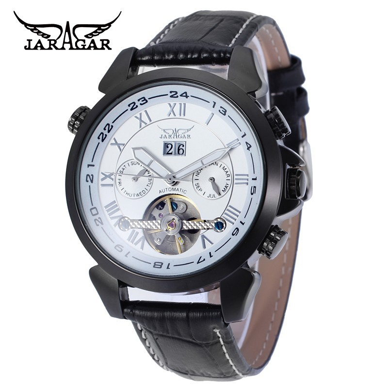JARAGAR Mens Watches Top Brand Luxury Mens Day/Week/Month Tourbillion Auto Mechanical Watches Gift Box Free Ship<br>
