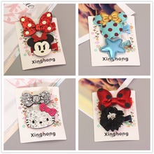 Hello Kitty Mickey Minnie Mouse Ears Girls Kids Hair Clips Hairpin Accessories For Children Hair Bow Barrette Hairclip Headdress