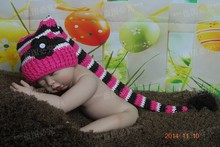 Free shipping Handmade Baby Stripe Hat Crochet Elf Hat Christmas hat Long tail cap Newborn Photo Prop