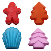 Muffin Cup Cake Silicone Mold Cake Decorative Snowman Christmas Tree Muffin Soap Cake Pudding Fondant Kitchen Baking(China)