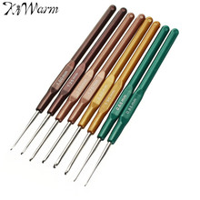 KiWarm 8pcs/set Different Sizes Plastic Handle Metal Crochet Hooks Knitting Yarn Needles Weave DIY Crafts Sewing Tool 0.65-2.5mm