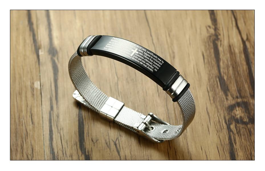 Meaeguet Stainless Steel Cross Bible Charm Bracelet Wristband For Men Adjustable Watch Bands Bracelet Christian Jewelry (5)