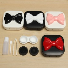 2016 New Fashion Plastic Cute Mini Travel Kit Easy Carry Bow Contact Lens Case Storage Holder Glasses Container Box Ramdon Color(China)