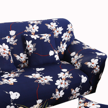 Dark blue sectional couch covers flower print sofa cover elastic stretch loveseat slipcover for living room modern sofa make up(China)