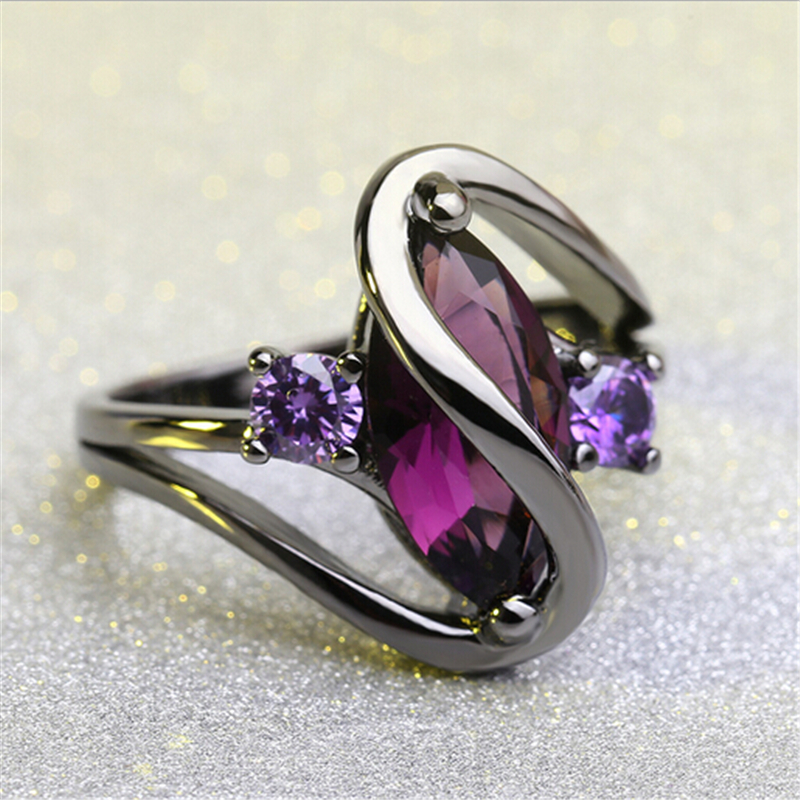 Hot Fashion Luxury Vintage Purple Zircon CZ Crystal Colorful Rings For Women Wedding engagement Jewelry stainless steel rings 3
