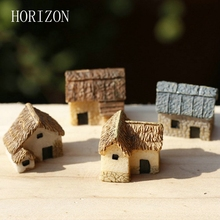 Artificial Mini House Miniature Resin Craft Ornament Miniature Home Garden Decoration Accessories Random Color 1 pcs