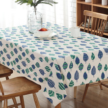 Popular Printing Hot Selling Tablecloth Fashion New Brand Dining Kitchen Tablecloths White and Blue Dinner Casual Table Cloth(China)