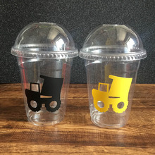 Sticker Clear Disposable Steam Shovel Construction 12oz Party Cups Kids Birthday for boy Party Decorations Tablewares Supplies(China)