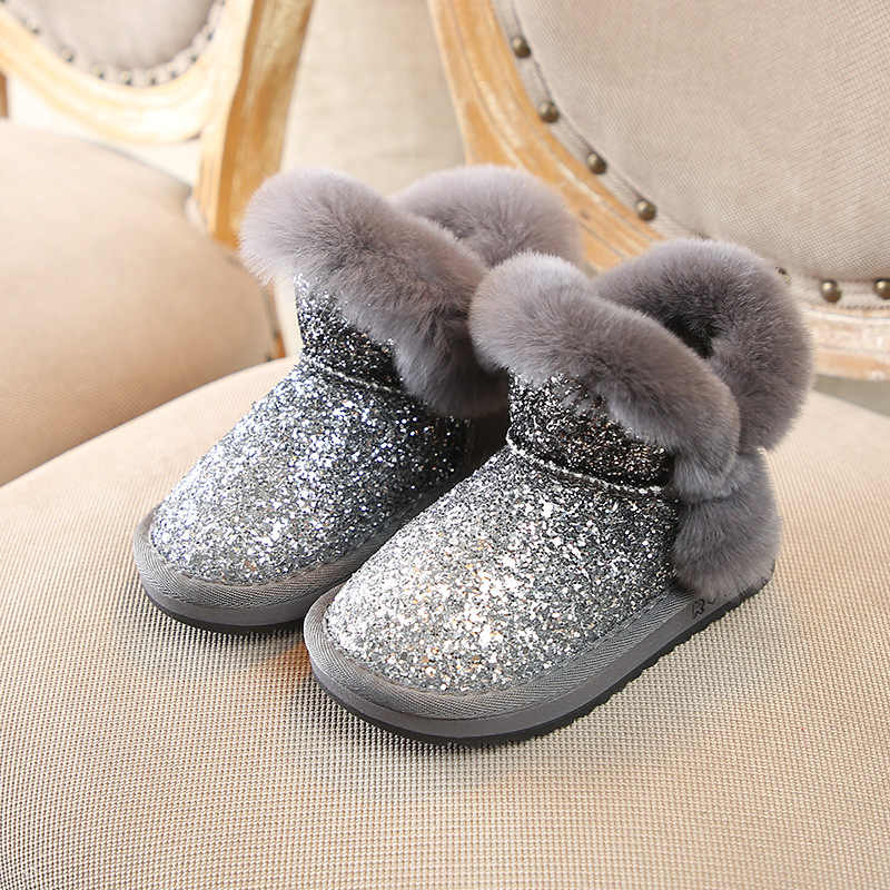 Bling Sequin Girls Boots Winter Shoes For Girls Pink Boots Children Snow  Boots Kids Ugs Warm 801aabcf827f