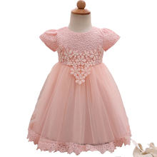 Pageant Dresses For Little Girls Pink Flower Baby Girl Christening Gowns Formal Infant Wedding Dress Cute Toddler Prom Dresses