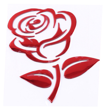 Red Rose Car Sticker And Decals Flower Motorcycle Decorative Stickers Car Window Door Rear Windshield Decals Silver Golden