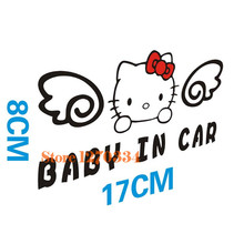 Cute!Car stickers Baby in car for hello kitty design placed in the whole body car decorations car styling free shipping