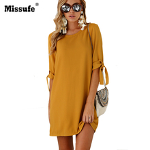 Missufe Yellow O Neck Autumn Dress Casual Ukraine Mini Clothing For Women Elegant Beam Sleeve Streetwear Dresses 2017 Vestidos(China)