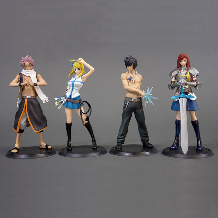 NEW hot 15cm 4pcs/set FAIRY TAIL Etherious Natsu Dragneel Lucy Gray Erza Scarlet Action figure toys doll collection with box<br>