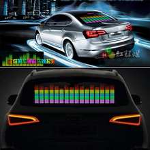 siparnuo 90Cm*25Cm Car Music Rhythm Lamp Car Sticker Sound Rhythm Activated El Equalizer Panel Led Interior Lighting