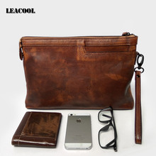 Leacool Men Casual Briefcase Business Zipper HandBag CalfSkin Leather Clutch Bag for Ipad Air Pro Case 7.9 9.6inch(China)