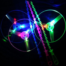 750pcs/lot led flashing hand push flying saucer toy light up colorful glowing frisbee toys for party supplies