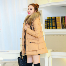 New Winter Jacket Women Thick Cotton Fur Collar Fashion Long Padded Parka Jackets Hooded Feminine Coat Plus Size 2XL C813