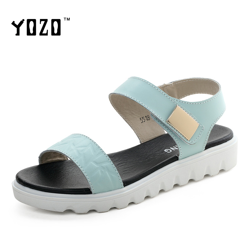 YOZO Women Sandals Fashion Genuine Leather Hook &amp; Loop Elegant Luxury Sexy Sandals Women Brand Shoes Zapatos Mujer <br><br>Aliexpress