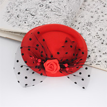 Gift gorgeous fascinator feather solid flower pillbox hat hair accessories clips