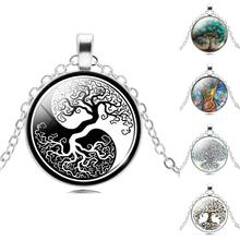 2017 Retro Style Jewelry Silver  Color with Glass Cabochon Tree of Life Shaped Choker Long Pendant Necklace for Women Gift